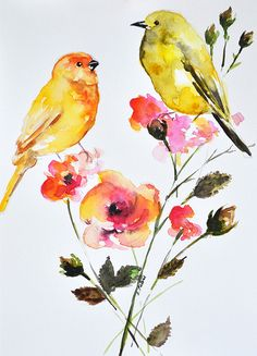 ORIGINAL Watercolor Painting, Goldfinches on Orange Pink Flowers 6x8 Inch