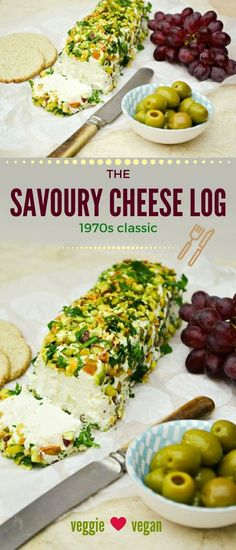A retro canape from the 1970s. The cheese log could regularly be seen on buffet tables alongside sausage rolls, devilled eggs and vol au vents. It's easy to make but needs to chill in the fridge overnight before it's coated in herbs and nuts. This recipe can be veggie, vegan or dairy-free. Serve with oatcakes or crusty bread. #cheeselog #seventies #70s #1970s #retro #cheese #softcheese #nuts #cheeseball #pistachios #vegan #vegetarian