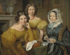 Madame Vieyres and Her Daughters - Jacques Laurent Agasse 1831