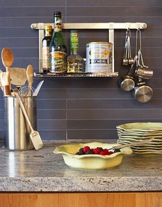 Slate-colored Ann Sacks tiles make a cool backdrop for warm white Juliska pottery. Rack system from Rosle. - HouseBeautiful.com