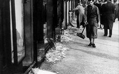 "A line of Jewish-run shops after being vandalized by Nazis. The ""Night of Broken Glass"" Kristallnacht. Nov 7th is the 75 year anniversary of this terrible night"