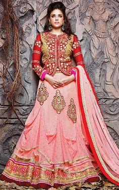 USD 128.62 Red Pure Silk Indo Western Lehenga Choli 42797