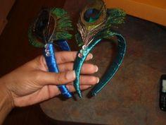 My First DIY Project Peacock Headbands! : wedding blue bridesmaids diy flower girls green headbands peacock feathers purple teal Diademas Terminadas