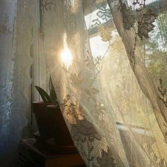 There is some tranquility that is so easy to tap in to…such as the sunrise and… - Curtains Fresh Farmhouse, Lace Curtains, Through The Window, Morning Light, Light And Shadow, Home Interior, Interior Decorating, Ramen, Shabby Chic