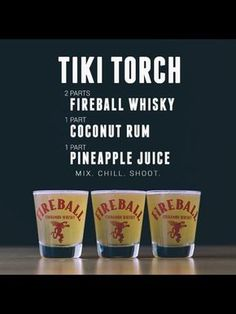 Tiki Torch - Fireball, Coconut Rum and Pineapple Juice Fireball Drinks, Fireball Recipes, Alcohol Drink Recipes, Alcoholic Drinks, Fireball Shot, Mixed Drinks Alcohol, Bourbon Drinks, Milk Shakes, Drink Recipes
