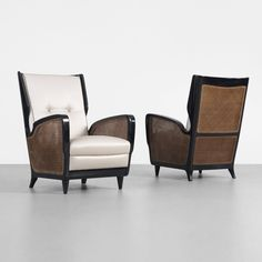 Gio Ponti; Lacquered Wood, Cane and Silk Lounge Chairs for Cassina, c1950.