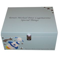 Blue Limewood Box with Rockets and stars names etc. in silver