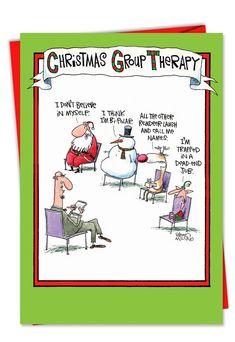 Box Set of 12 Group Therapy Naughty Humor Christmas Greeting Cards Christmas Jokes, Christmas Cartoons, Funny Christmas Cards, Merry Christmas Card, Christmas Ideas, Christmas Time, Christmas Greetings, Holiday Cards, Christmas Comics