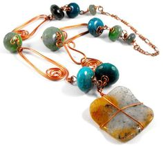 Summertime at the beach copper agate necklace - product images  of