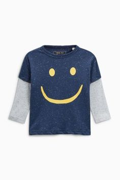 Buy Navy/Blue/Grey Long Sleeve Face T-Shirts Three Pack (3mths-6yrs) from the Next UK online shop