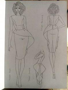 Dress Design Sketches, Fashion Design Sketchbook, Fashion Illustration Sketches, Fashion Design Drawings, Fashion Sketches, Aya Couture, Fashion Drawing Dresses, Fashion Silhouette, Dress Drawing