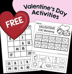 FREE Kindergarten Valentine's Day Centers – CVC Words – Numbers – Sight Words Teaching Resources & Lesson Plans Color Worksheets For Preschool, Kindergarten Activities, Book Activities, Teaching Resources, Counting Activities, Preschool Curriculum, Preschool Themes, Homeschooling, Classroom Behavior