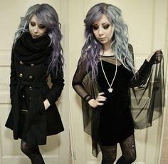 Grey hair on nu #Goth beauty