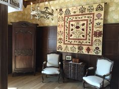 """Michele Hill's quilt, """"Morris and Friends"""" in its new home. This quilt was purchased on September 25, 2014, at the auction at Burlington House, Piccadilly, London sponsored by the Society of Antiquaries of London to benefit Kelmscott Manor."""