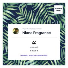 Niana Fragrance reviewed on SummerLabel. Shop online & offline. Chandigarh, New Delhi, Gurgaon, Mumbai.  Sells Lifestyle. Fashion and Lifestyle Store. Niana seeks to awaken all your senses,to bring to your life and home, a deep sense of joy, serenity and illumination.