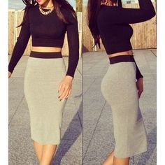 Sexy Round Neck Long Sleeve Solid Color Crop Top + Spliced Skirt Women's Twinset