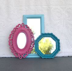 Aqua Teal bright Pink Upcycled Bright Mirror collection.... Painted Mirrors Teenage bedroom Girls room Powder room Decor