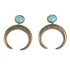 2 Bandits - The Crescent Earring / Antique Brass With Howlite Blue Turquoise