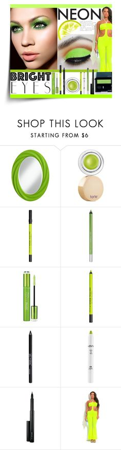 """""""Bright Eyes: Neon Green"""" by tailormadelady ❤ liked on Polyvore featuring beauty, tarte, Urban Decay, Maybelline, NYX, MAC Cosmetics and Shiseido"""