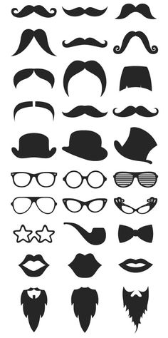 Free Vector Hipster Stock Mustache Beard & RayBan Glasses - Perhaps for homemade Photo booth Props? Photos Booth, Photo Booth Props, Portrait Silhouette, Accessoires Photo, Silhouette Files, Beard Silhouette, Ray Ban Glasses, Beard No Mustache, Silhouette Cameo Projects