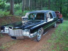 "Graveyard Carz's hot rod hearse for towing their ""resurrected"" muscle cars."