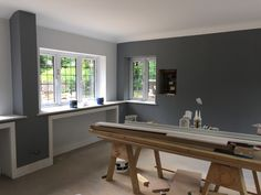 Grey Bathroom Paint, Grey Bathrooms, Kitchen Paint, White Bathroom, Kitchen Cabinets, Living Room Paint, Living Room Grey, Living Room Decor, Dining Room