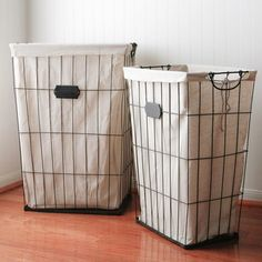 Metal and Cloth Laundry Basket, Set of 2