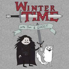 Winter Time with Jon and Ghost.  #AdventureTime #GOT #Finn #Jake #JonSnow #Ghost