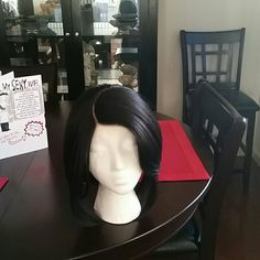 Sophisticated Synthetic Bob Wig! This lovely side part Swoop Bang unit is perfect for the office or every day wear. Is in the color #2(dark brown) is longer on the sides slightly shorter in the back. Has combs and adjustable straps. Very full and bouncy. Has been worn a few times with a stocking cap. No trades. Sensationnel Empress Other