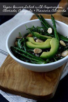 Vegan Quinoa Salad with Asparagus, Avocado, Arugula & Marcona Almonds