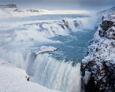 Gullfoss in Iceland. Seen it melted in Autumn- now I want to see it in Winter!