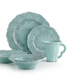 Arte Italica Dinnerware, Merletto Aqua Collection - Casual Dining - Kitchen - Macy's Bridal and Wedding Registry Casual Dinnerware Sets, Dish Sets, Dinner Sets, China Patterns, Deco Table, Home And Deco, Place Settings, Table Settings, Tabletop
