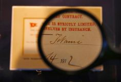 An Edwardian omnibus ticket taken from the Titanic is displayed at The Science Museum in London March 5, 2003.
