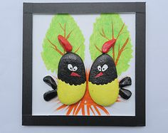 Chickens pebbles picture painted, pebbles in handmade, pebbles painting, gravel art, painted stone