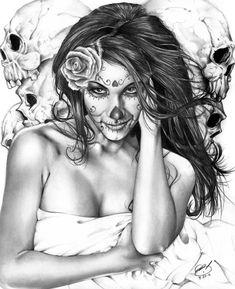 sugar skull http://images.fineartamerica.com/images-medium-large/dia-de-los-muertos-2-pete-tapang.jpg