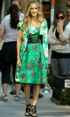 Carrie Bradshaw Wearing A Contrasting Green And White Floral Outfit And Balenciaga Shoes, SATC The Movie
