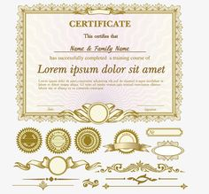 european pattern vector golden certificate letter of appointment