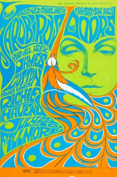 The Yardbirds/The Doors /James Cotton Blues Band/Richie Havens,   July, 25-30 - 1967  - Fillmore Auditorium   (San Francisco, CA) Art by Bonnie MacLean