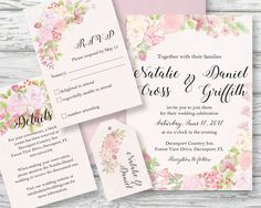 Wedding invitation set; hand painted watercolor blush roses; DIY print; includes custom text; printable wedding stationery by LollysLaneShoppe on Etsy