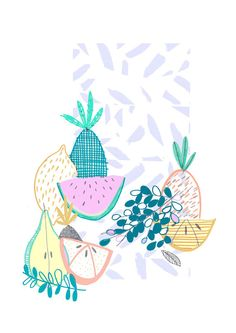Tutti fruity collection. Limited edition by Amyislaillustration, $35.00 illustration, print, pattern, pineapple print, pineapple pattern, fruit design, fruit design, watermelon print, illustration print,