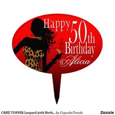 CAKE TOPPER Leopard 50th Birthday red