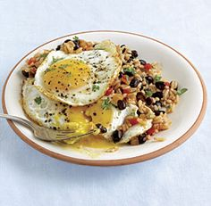 Rice & Beans with Fried Eggs. Served with soft corn tortillas, this traditional Costa Rican dish works for breakfast, lunch, or dinner.