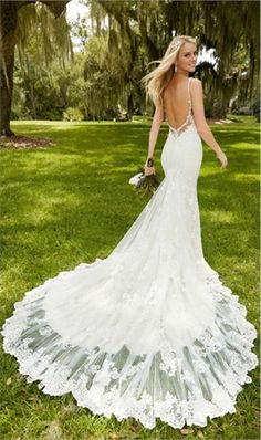Backless Wedding Dress With Cap Sleeves 2016 Lace Wedding Gown Long Train Romantic gelinlik vestido de noiva