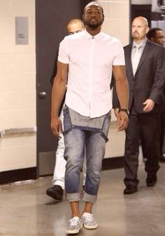 Dwyane Wade brooklyn nets Miami heat game overalls and polka dot sneakers