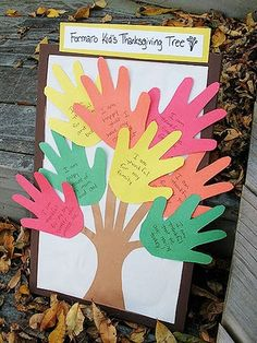 """High-fives for all the awesome things your kids are grateful for!                 Make it: Start by covering a bulletin board with white paper to make your canvas. Then, trace your children's hands on sheets of red, orange, green and yellow construction paper. Once you've traced and cut out handprints, have your kids write what they are thankful for. Cut a tree from brown paper (you can use your kids hand and forearm for a template), and glue on all your """"leaves."""""""