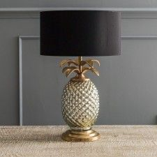 "Silver & Gold Pineapple Lamp with 14"" lamp shade black with gold inside from Graham and Green"