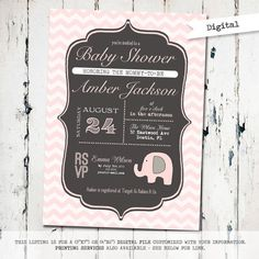 Elephant Baby Shower Invitation with chevron, gender neutral baby shower invitation, modern shower invite, digital, printable (JPD179) on Etsy, $15.00