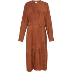 Tibi     Burnt Paprika Placket Suede Dress ($1,395) ❤ liked on Polyvore featuring dresses, tibi, orange, brown dresses, orange dress, sheath dress, brown suede dress and button down dress