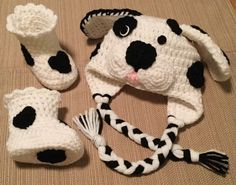 Crochet Dalmation Hat and Booties, Dalmation Puppy Hat, Character Hat, Crochet Booties, Halloween Costume, Dalmation Booties, FREE SHIPPING by HaniasCreations on Etsy