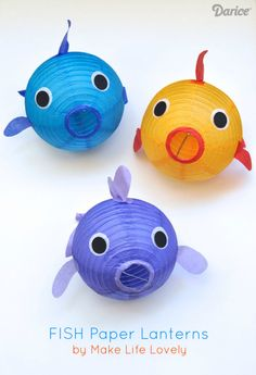 Paper Lantern Fish DIY Craft Tutorial- Perfect decoration idea for an under the sea or ocean party diy ideas crafts Fish Lanterns, Paper Lanterns, Lantern Decorations, Lantern Craft, Ocean Crafts, Fish Crafts, Under The Sea Theme, Under The Sea Party, Under The Sea Crafts